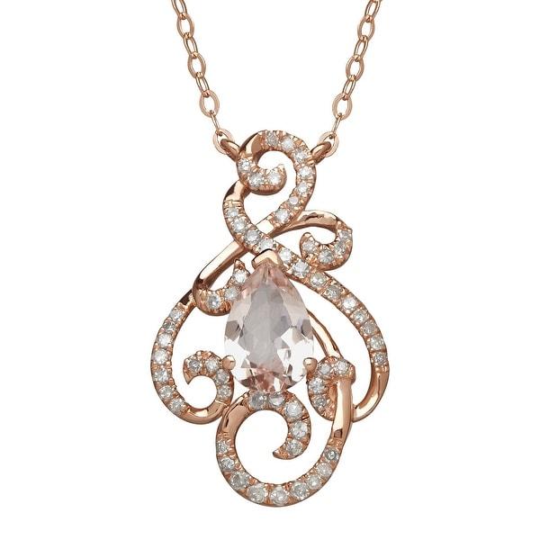 1 1/10 ct Natural Morganite & 1/5 ct Diamond Swirl Necklace in 10K Rose Gold - Pink