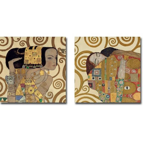 Expectation & Fulfillment by Gustav Klimt 2-pc Gallery Wrapped Canvas Giclee Set (18 in x 18 in Ea Canvas in Set)