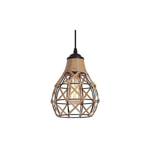 Hemp rope lantern pendant light vintage kitchen island lighting