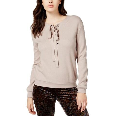 JOA Womens Juniors Sweatshirt Grommet Lace-Up