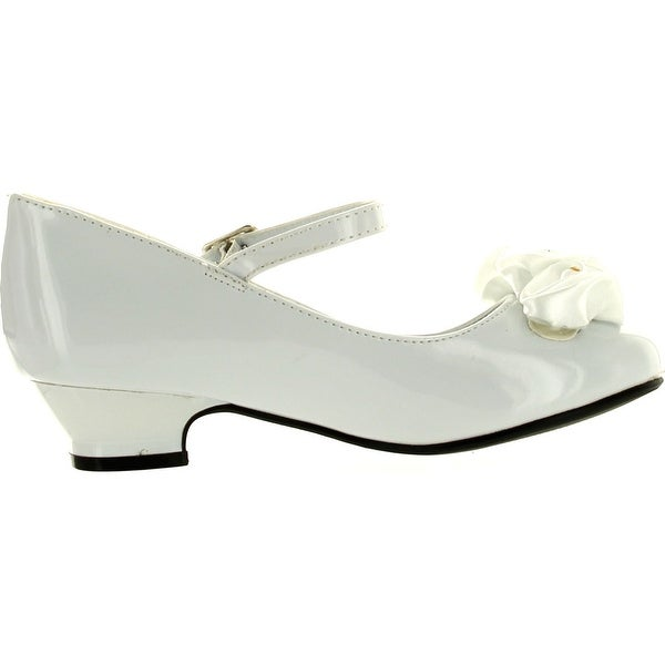 DressForLess Mary Jane Shoes with Pretty Satin Rolled Rosettes Patent Leather