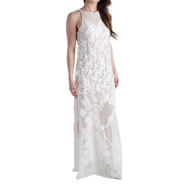 Shop Vera Wang Womens Evening Dress Lace Floral Pattern - Free ...