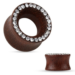 Crystal Pave Rim Organic Rose Wood Double Flared Tunnel (Sold Ind.)