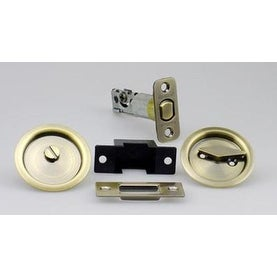 Kwikset 93350 013 Privacy Pocket Door Lock, Antique Brass