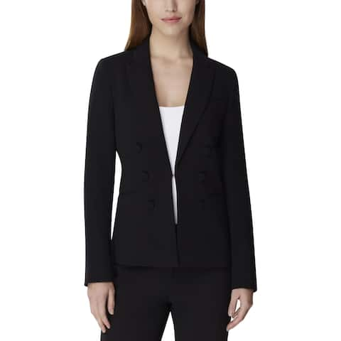 Tahari Womens Petites Double-Breasted Blazer Business Suite Seperate - Black