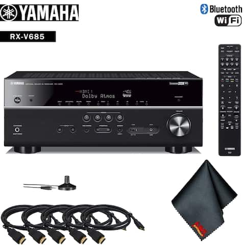 Yamaha RX-V685 7.2-Channel MusicCast A/V Receiver Accessory Kit - Includes - 5 x HDMI Cable + More!