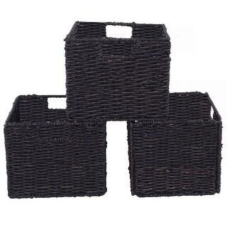 Costway Set of 3 Storage Baskets Folding Nesting Rectangular