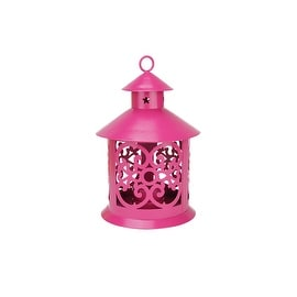 "8"" Shiny Pink Votive or Tealight Candle Holder Lantern with Star and Scroll Cutouts"