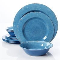 Gibson Studio Line By Laurie Gates 12 Piece Mauna Melamine Dinnerware, Blue