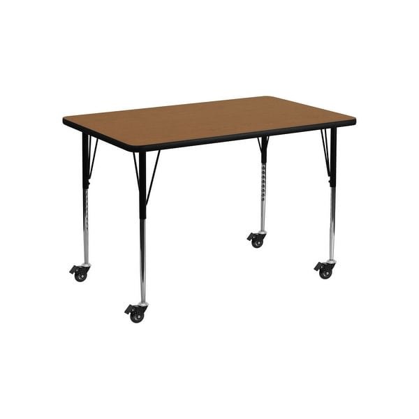 "Offex 30""W x 48""L Mobile Rectangular Activity Table with Oak Thermal Fused Laminate Top and Standard Height Adjustable Leg - N/A"