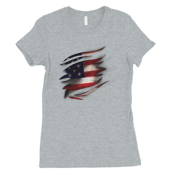 c06e9a3db Shop American Flag Ripped Womens Grey T-Shirt Funny 4th of July Outfits -  Free Shipping On Orders Over $45 - Overstock - 22335880
