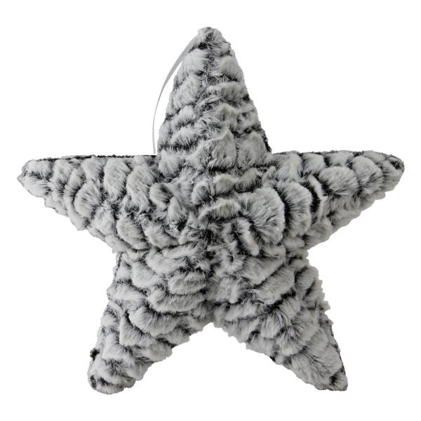 "9.5"" Grey and White Plush Star Christmas Ornament"