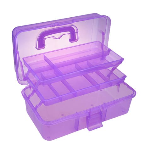 13-inch Tool Box w Tray and Organizers Includes Removable 10 Small Parts Purple