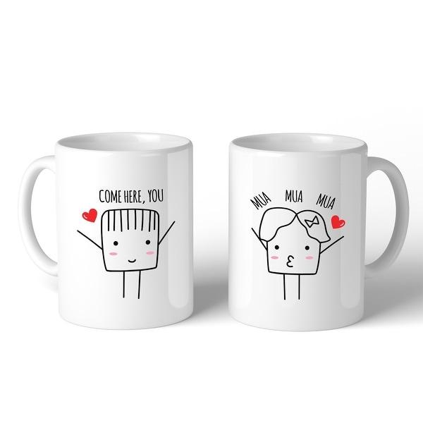 Shop Come Here Mua Mua Mua White Matching Couple Mugs Cute