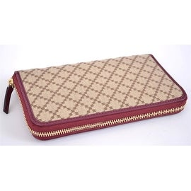 GUCCI 363423 JACQUARD LEATHER DIAMANTE ZIP AROUND CLUTCH WALLET