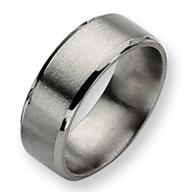 Chisel Beveled Edge Satin and Polished Titanium Ring (8.0 mm)