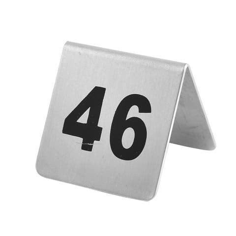 Restaurant Stainless Steel Free-standing Number 46 Table Sign Black Silver Tone