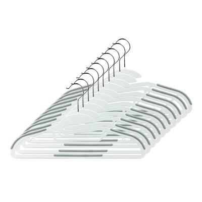 """Home Basics White Plastic Non-Slip Hanger (Set of 10) - 0.75"""" x 8.75"""" x 16.25"""""""