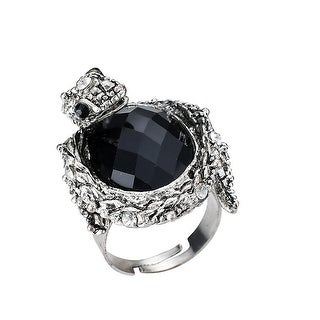 Vintage Cobra Snake Enamel Statement Ring w/Black Oval Stone, By JADA Collections