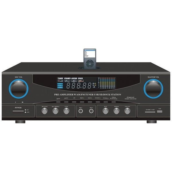 PYLE HOME PT4601AIU 500-Watt Stereo Receiver with iPod(R) Dock
