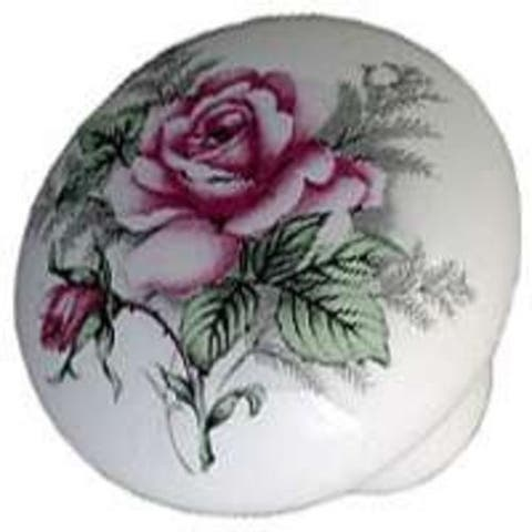 "Mintcraft C103WGF35 Floral Ceramic Knob 1-3/8"""