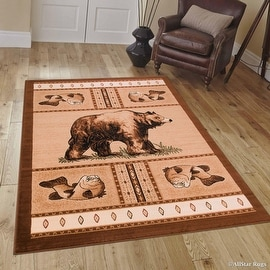 """Brown Nature Wildlife Outdoor Cabin Bear with Fish Area Rug (3' 9"""" x 5' 1"""")"""