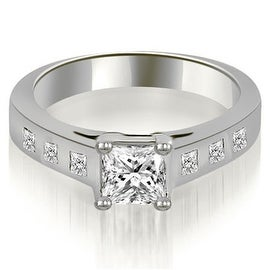 0.75 cttw. 14K White Gold Princess Cut Bezel Engagement Diamond Ring