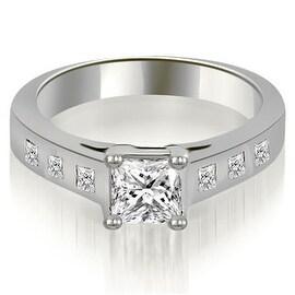 1.00 cttw. 14K White Gold Princess Cut Bezel Engagement Diamond Ring