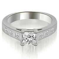 1.25 cttw. 14K White Gold Princess Cut Bezel Engagement Diamond Ring