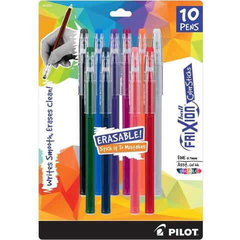 Pilot Frixion Ball Color Sticks Erasable Gel Pens 10/Pkg-Assorted Colors - Assorted