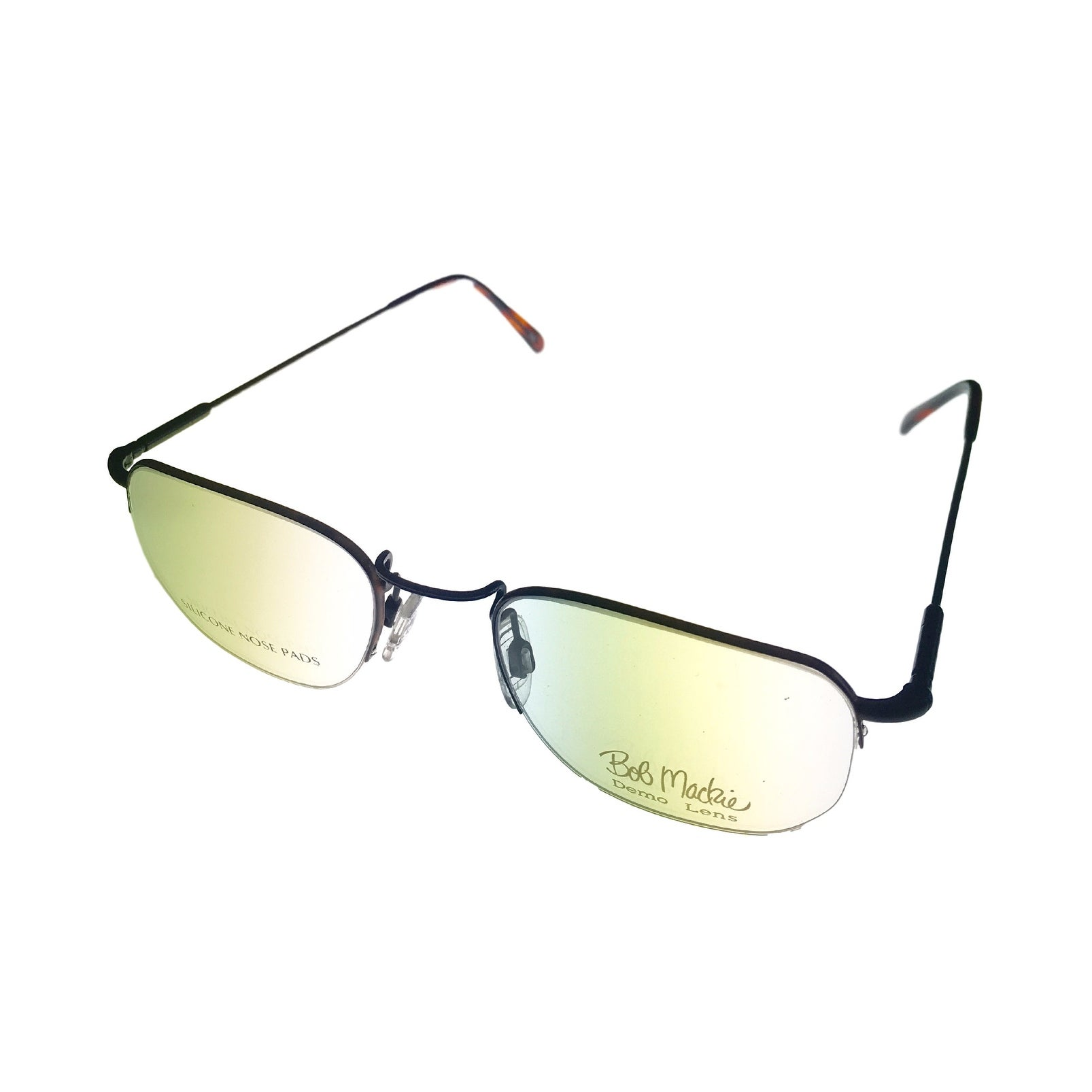 Bob Mackie Mens Opthalmic Eyeglass Rimless Square 779 Matte Black Tortoise - Medium - Thumbnail 0