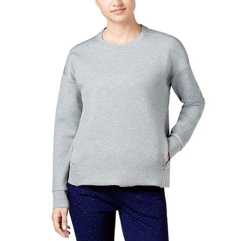 32 Degrees Heat Women's Drop Shoulder Fleece Top Heather Grey Size Medium