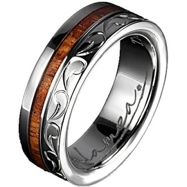 Titanium Wedding Band With Koa Wood Inlay & Edge Design 6 mm