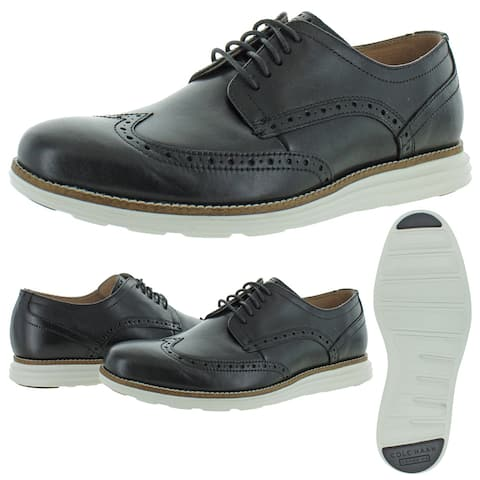 Cole Haan Mens OriginalGrand Oxfords Leather Lace-Up - Black/White