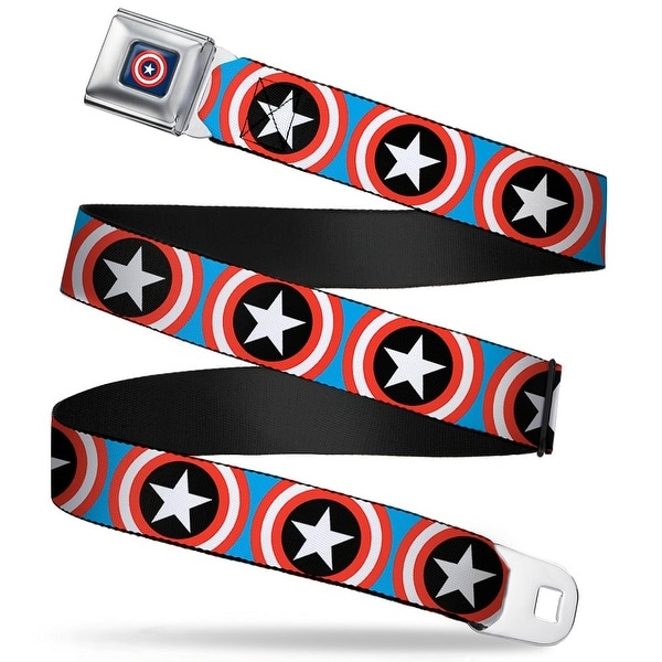 Marvel Comics Captain America Shield Full Color Navy Captain America Shield Seatbelt Belt