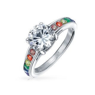 Bling Jewelry Stainless Steel 2ct CZ Glass Rainbow Pride Engagement Ring