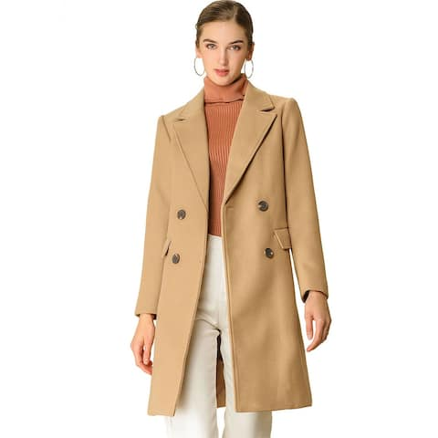 Women's Double Breasted Belted Pocket Trench Coat