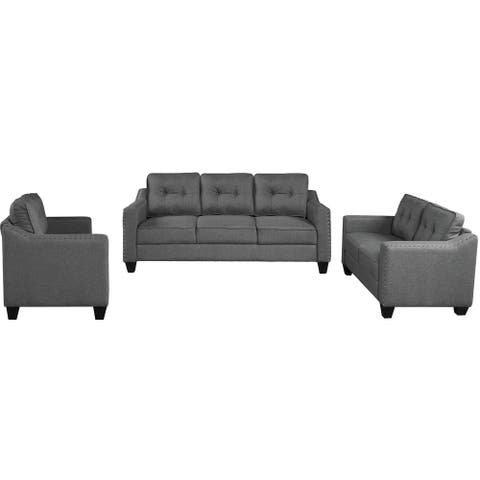 Clihome 3 Piece Living Room Set with tufted cushions. - N/A