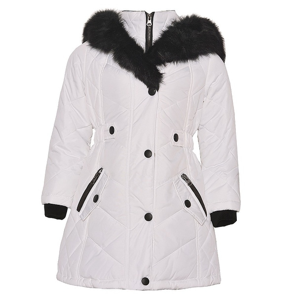 4d182d044f743 Shop KC Collections Little Girls White Black Faux Fur Trim Hooded Puffer  Coat - Free Shipping On Orders Over  45 - Overstock - 18842379
