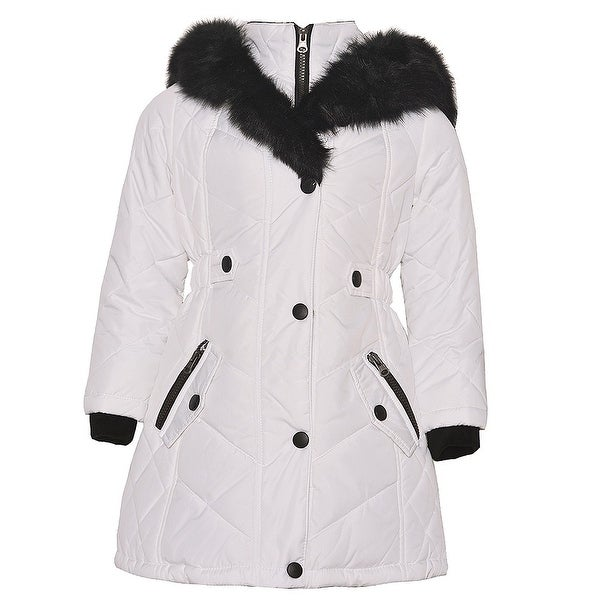 51e3cccb9 Shop KC Collections Little Girls White Black Faux Fur Trim Hooded ...