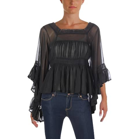 Aqua Womens Pullover Top Sheer Night Out