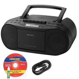 Sony CFDS70BLK CD/Cassette Boombox Home Audio Radio, Black Bundle