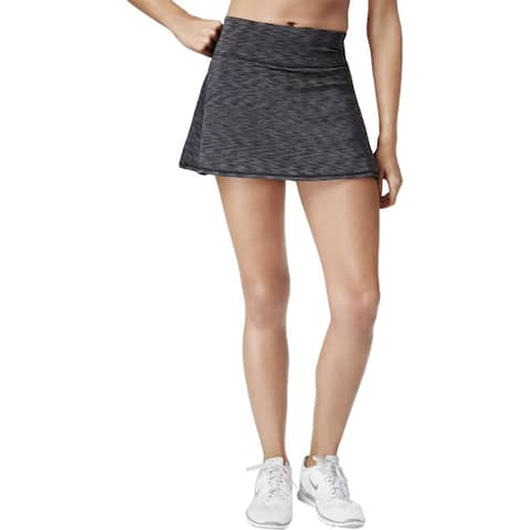 Ideology Women's Space-Dyed Tennis Skirt Black/Grey Size Extra Large - Black - XL (16)
