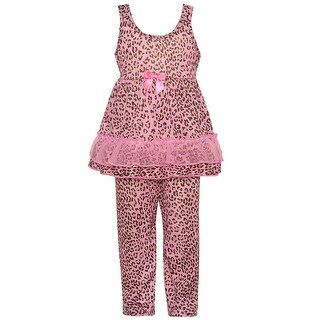 Laura Dare Little Girls Pink Leopard Print Bow Ruffle 2 Pc Pajama Set