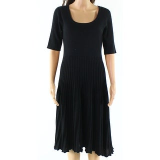 Valentino NEW Black Womens Large L Pleated Scoop Neck Sweater Dress