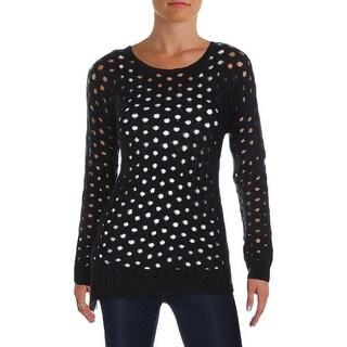 Aqua Womens Dalia Crewneck Sweater Asymmetrical Circle Stitch