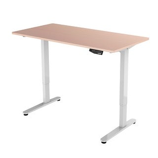 Flexispot Sit Stand Height Adjustable Desk Home Office Electric Standing Workstation Maple Desktop