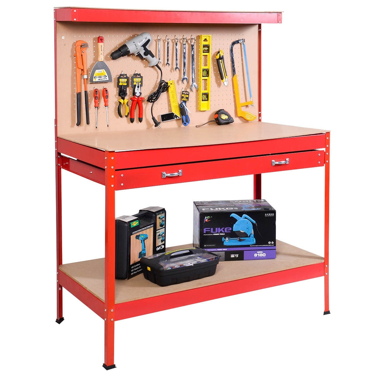 Astounding Costway Work Bench Tool Storage Steel Tool Workshop Table W Drawer And Peg Board Red Beatyapartments Chair Design Images Beatyapartmentscom