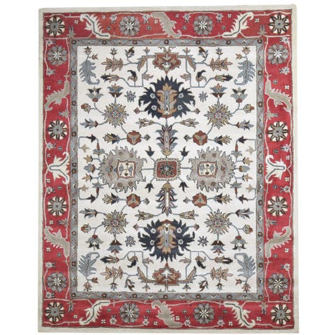 One of a Kind Hand-Tufted Persian 8' x 10' Oriental Wool Ivory Rug - 8' x 10'