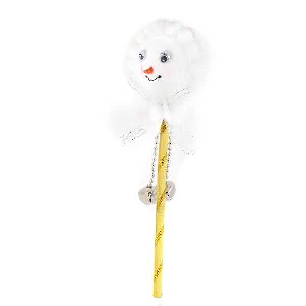 Unique Bargains Xmas Gift Bells Decorated Yellow Rod White Foam Christmas Stick Decoration